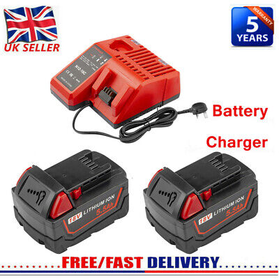 For Milwaukee M18 Lithium XC 5.5AH Extended Capacity Battery/Charger 48-11-1852 • 40.99£
