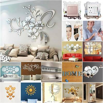 Acrylic 3D Mirror Effect Tile Wall Sticker Stick On Decal Self Adhesive Art Deco • 3.41£