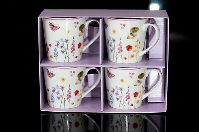 £18.49 • Buy Butterfly Garden Fine China Boxed Mug Set Of Four Gift For Birthday's Xmas Etc