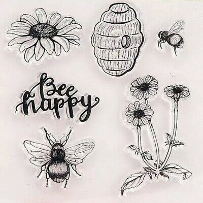 Bee Happy Clear Stamps/flower Bees Hive Transparent Stamp-card Making-silicone • 5.50£