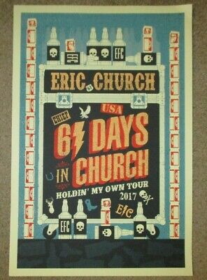 $29.99 • Buy ERIC CHURCH Concert Poster 61 DAYS IN CHURCH 2017 Tour Print DINGED
