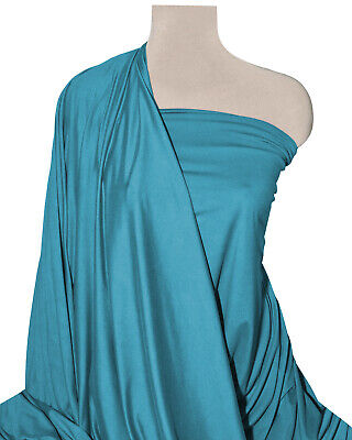 £4.99 • Buy Teal Jersey Fabric ITY Plain 60  Knit Spandex 4-Way Stretch Clearance Per Metre