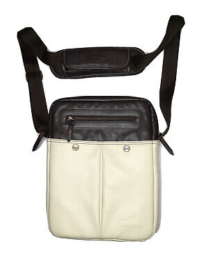 STM North South Vertical Padded PU Ivory/ Brown Sturdy Bag For 11 -12  Laptop • 17.16£