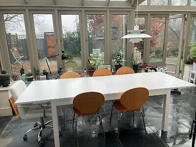 IKEA Long White Dining Table With 2 Extension Leaves Good Condition • 100£