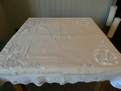 Vintage Madeira Style Square Tablecloth With Cut Out Work & Lace Edging • 35£