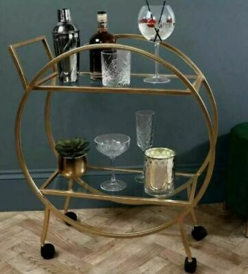 £69.49 • Buy New Large Round Drinks Trolley 2 Tier Antique Gold Brand New Art Deco Style