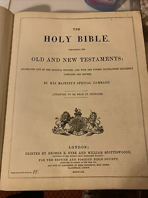 £15.96 • Buy Holy Bible Printed By George E Eyre And William Spottiswoode