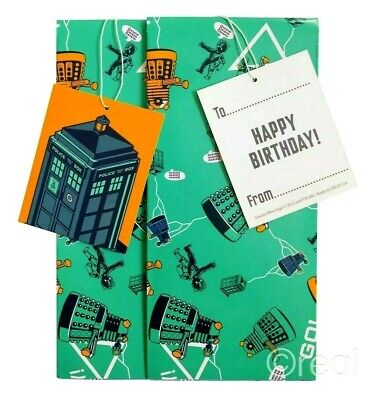 £2.99 • Buy 3 Packs Official Doctor Who Gift Wrap Set Birthday Tags Wrapping Paper TARDIS