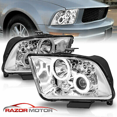 $157.99 • Buy [Dual LED Halo] 2005-2009 Ford Mustang Chrome Projector Headlights Set