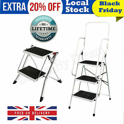 Folding 3 Step Ladder Handrail Non Slip Safety Wide Tread Foldable Rail Tools UK • 6.88£