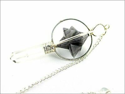 Blue Aventurine Spinning Merkaba Pendulum 2.5 Inch Jet International Crystal • 12.99£