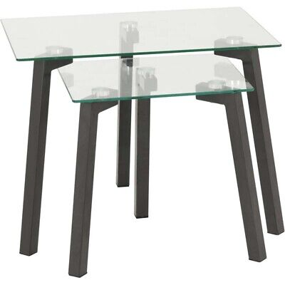 Seconique Abbey Living Room Nest Of Side Tables Clear Glass & Grey • 62.95£