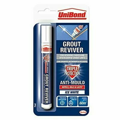 UniBond Anti-Mould Ice White Grout Reviver Restorer Pen - 7ml  • 4.89£