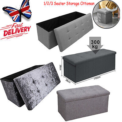 2/3 Seater Large Folding Storage Ottoman Bench Seat Blanket Toy Button Chest Box • 28.55£