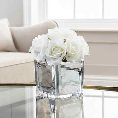 White Roses In Mirror Cube Artificial Plant Hallway, Bedroom, Gift (Home Decor) • 14.99£
