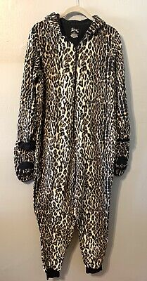 £12.80 • Buy Adult Small Nick & Nora Black & Tan Leopard Cat One Piece With Hood Euc