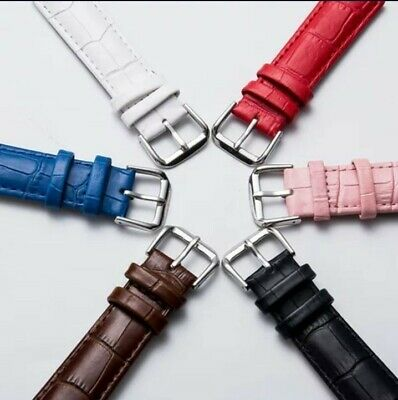 AU7.98 • Buy Leather Wrist Watch /smart Watch Bands BLACK, BLUE, BROWN, PINK , 18MM, 20MM,...