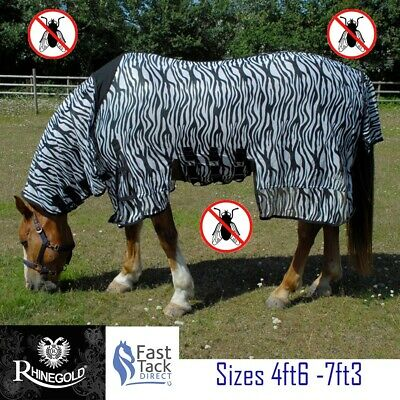£39.95 • Buy ZEBRA PRINT Horse Fly Rug RHINEGOLD Combo Neck Cover Belly Protection 4ft6-7ft3