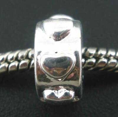 £2.95 • Buy Silver Plated Hearts Charm Stopper Clip For European Charm Bracelets