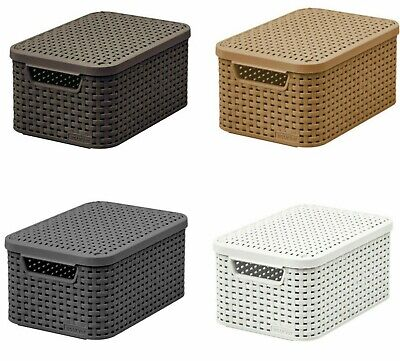 £11.09 • Buy Storage Box Container Basket Rattan With Lid S M L 4 Colours Curver Natural Look