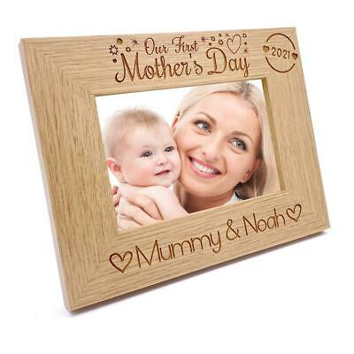 Personalised Our First Mothers Day Photo Frame Oak Wood Finish Landscape FW486 • 10.99£