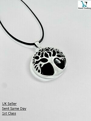 Black Obsidian Healing Tree Of Life Silver Pendant Leather Cord Necklace • 4.99£