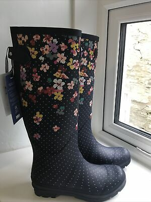 £65 • Buy Joules Womens Printed Wellies With Adjustable Back Gusset Size 6 Navy Blossom