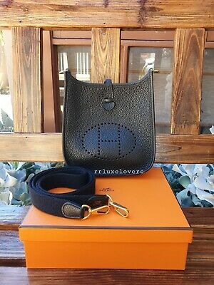 AU3295 • Buy 🍊 Hermes Mini Evelyne Tpm Noir (black) Clemence Leather With Ghw 🍊