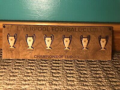 Liverpool Football Club Champions Of Europe Wooden Plaque • 8£