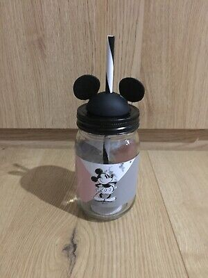 Brand New Disney Mickey Mouse Mason Jar Drinking Glass With Lid And Straw • 8.99£