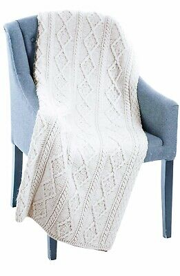 £70.24 • Buy Aran Woollen Mills 100% Pure New Wool Cream Cable Knit Throw Ireland *NEW*