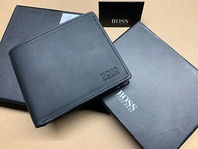 $ CDN57.77 • Buy Hugo Boss Arezzo Black Leather Trifold Credit Card Holder Coin Pocket Wallet