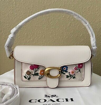 NWT COACH 627 Tabby Small Floral Embroidery Shoulder Bag, Chalk Signature/Gold • 232.46£