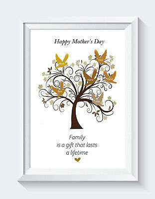 £5 • Buy Personalised Mothers Day Gifts Mum Mummy Family Tree Names Print ONLY Unframed