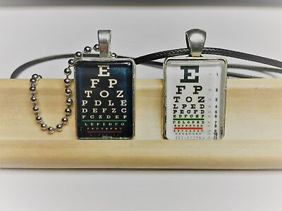 Snellen Eye Chart Optometrist Optician Glass Cabochon Pendant Charm Necklace • 7.13£