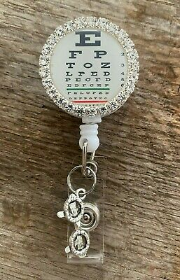 SNELLEN Eye Chart Optometrist Optician Ophthalmologist Rhinestone Badge Reel • 9.28£