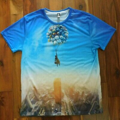 Imaginary Foundation, Mens L All-Over Print Blue Balloons SS Graphic T-Shirt EUC • 15.74£