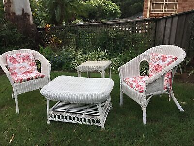 AU205 • Buy Vintage Wicker/Cane Garden Setting/Furniture Used 2 Armchairs, 2 Table+ Cushions