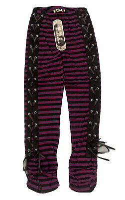 Gothic Purple Striped SDL Leggings With Lace Up Detail Size S • 16.99£