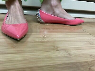£56.24 • Buy Ruthie Davis Pink Patent Leather Boca Spiked Ballerina Flats  8/38 HOT $700