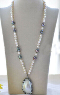 $19.99 • Buy White Black Round Rice Pearl Mabe Pendant & Necklace 22inch