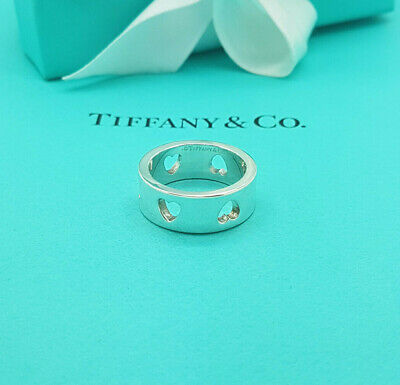 £287.99 • Buy Tiffany & Co. Silver Stencil Cut Out Heart Italy Ring Size O1/2 UK, 7.5US, 56EU