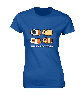 Furry Potatoes Ladies T Shirt Funny Guinea Pig Design Animal Lover Cute Top New • 6.99£