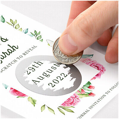 £9.95 • Buy Unique Save The Date Cards PERSONALISED Scratch Reveal Save The Date Cards 50