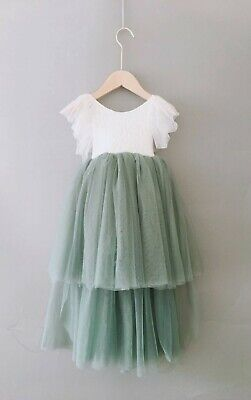 Bohemian Style Sage Green Pretty High Low Tulle Flower Girl Party Occasion Dress • 32.99£