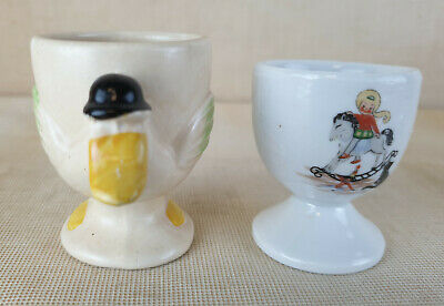 £2.99 • Buy 2 X Vintage Ceramic Egg Cups, Novelty,Hand Painted