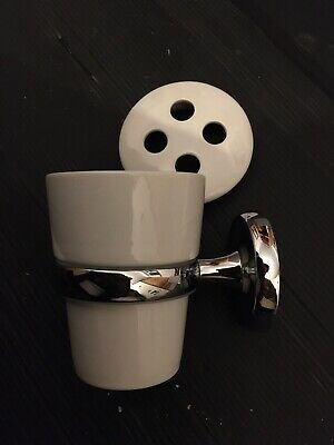 """Classic White Ceramic Toothbrush Holder W. Chrome Wall Mount """"Henley Classic"""" • 9.95£"""
