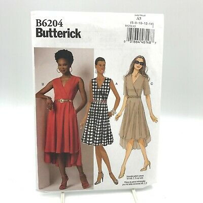 Butterick 6204 Misses V Neck Dress Flared High Low Hem Size 6 14 Uncut Pattern • 9.40£