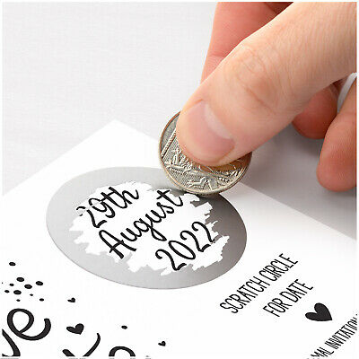 £0.99 • Buy PERSONALISED Save The Date Cards Scratch Off Reveal Wedding Date Announcement