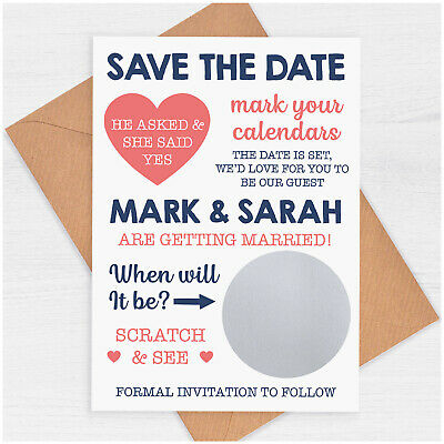£0.99 • Buy PERSONALISED Save The Date Cards He Asked She Said Yes Scratch Card Unique Fun